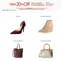 Amazon |  Fall Shoes and Handbags Promo Code