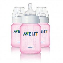 Amazon | Philips AVENT BPA Free Classic Polypropylene Bottle, Pink, 9 Ounce, 3 Pack