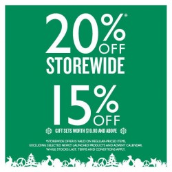The Body Shop | 20% off storewide Christmas shopping