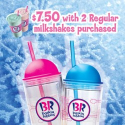 Baskin-Robbins | BRtumbler for $7.50 with 2 Regular milkshakes