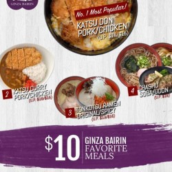 Ginza Bairin | $10 meals special