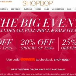 Shopbop | Black Friday Crazy Deal -- Up to 25% OFF Coupon Code