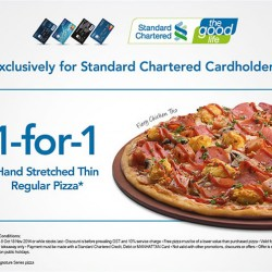 Standard Chartered | 1-For-1 Hand Stretch Thin Pizza @ Pizza Hut