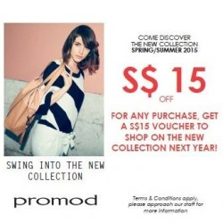 Promod | $15 off any purchase and $15 voucher for next purchase