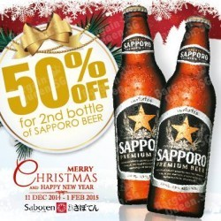Saboten | 50% off for 2nd bottle of SAPPORO BEER