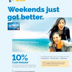 POSB Everyday Card | 10% Cash Rebate at AirAsia and on Overseas Spend on all weekends