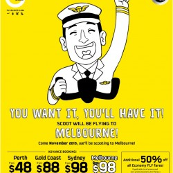 Scoot is flying to Melbourne starting from November 2015