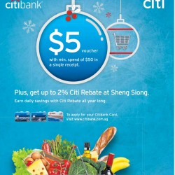 Citibank Card | S$5 voucher with min. spend of S$50 @ Sheng Siong