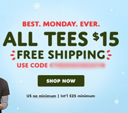 Threadless | All tees at US$15 Cyber Monday sale