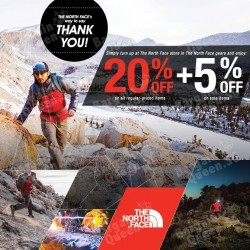 20% off regular priced items + extra 5% off @ The North Face