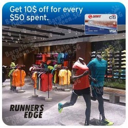 Citibank | $10 off with every $50 spent at Runner's Edge