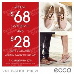 $68 cash rebate + $28 gift voucher with purchase @ ECCO