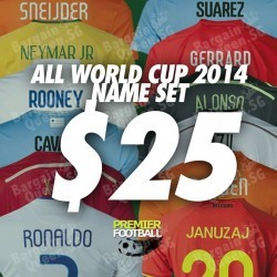 Premier Football | All World Cup 2014 Name sets @ $25.00