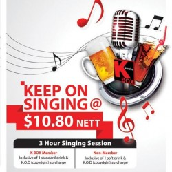 K Box Karaoke | 3 hours singing session at $10.8