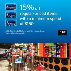 15% off regular priced items at DOT with Citibank cards