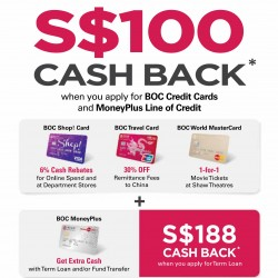 Band of China Credit Cards | S$100 Cashback when you apply