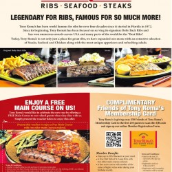 TonyRoma's | Free Main Course Voucher