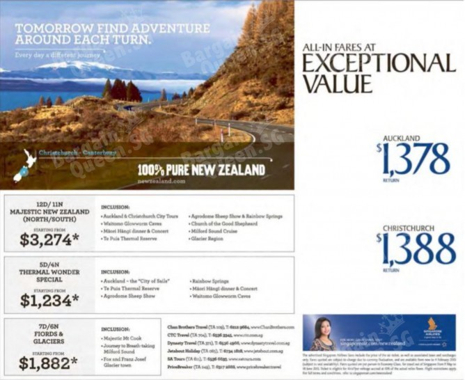 Singapore Airlines Now Offer Exceptional Promotion To New Zealand All In Fare Auckland From S 1378 Christchurch 1388 And More Travelling