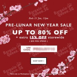 Pre-Lunar-New-Year Sale with extra 15% off storewide code on Zalora