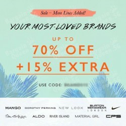 Up to 70% + extra 15% off sale on Zalora