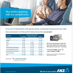 Cathay Pacific special air fare with ANZ cards
