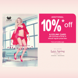 Extra 10% off and an EZ Link Card with purchase of $180 @ Wacoal
