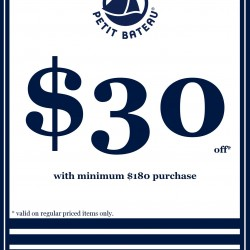 S$30 OFF Regular Priced Items @ Petit Bateau