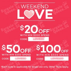 Weekend Love vouchers on Lazada up to $100 off