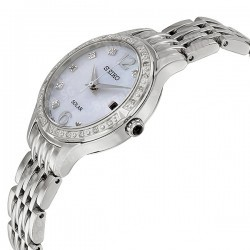 Seiko Solar Mother of Pear Dial Stainless Steel Ladies Watch SUT091 @JomaDeals