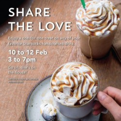 1 for 1 treat on any handcrafted drink @ Starbucks