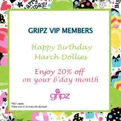 Enjoy a one-time 20% birthday discount by end of month @ GRIPZ