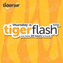 Thursday Tiger flash air fare from $39 @ Tiger Air