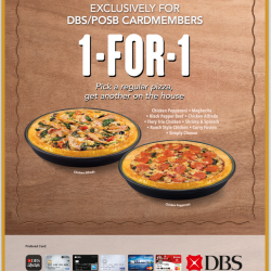 1-For-1 Pizza Deal @ Pizza Hut with DBS/POSB cards