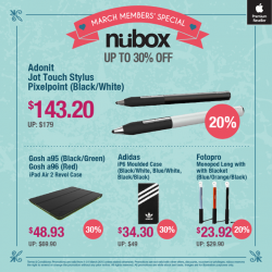 March member's specials up to 30% saving @ nübox