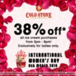 38% off ice cream purchase on International Women's Day @ Cold Stone Creamery