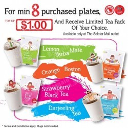 Top-up $1 and receive a cartoon Teapack @ Sushi Express