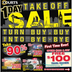 1 day only take off sale up to 90% off @ Courts