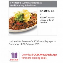 15% off @ Swensen's with OCBC card