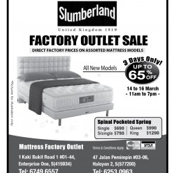 Factory outlet mattress sale @ Slumberland