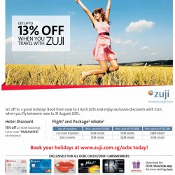 Get up to 13% off with OCBC card @ ZUJI