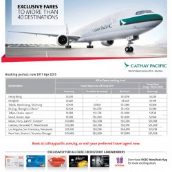 Cathay Pacific exclusive fares with OCBC Card