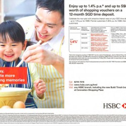 Up to 1.4% p.a. and up to $8000 vouchers SGD time deposit @ HSBC