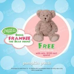 Free Patch teddy bear with $100 nett spend @ Pumpkin Patch