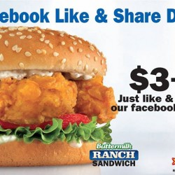 Like Facebook & Share Deal to get sandwich for $3