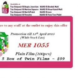 5 boxes of twin films for $99 @ Toy Outpost