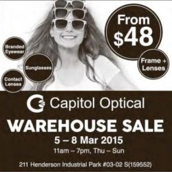 Branded eyewear warehouse sale from $48 @ Capitol Optical