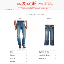 Select Jeans for Men, Women, Boys and Girls @ Amazon