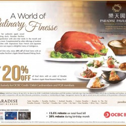 20% OFF All Food Items with Order of Apple Wood Roasted Peking Duck @ Paradise Pavilion