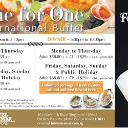 One for One International Buffet Promotion @ Hotel Mirama