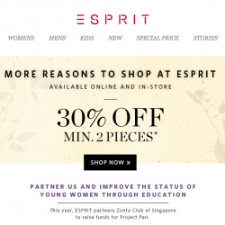 30% off with min. 2 pcs purchase @ Esprit